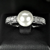 3.17 G. Special Natural White Pearl Jewelry Sterling Silver Ring Size 9