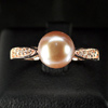 3.01 G. Natural Purplish Pink Pearl Rose Gold Silver Ring Size 9