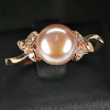 3.08 G. Natural Orangish Pink Pearl Rose Gold Plated Silver Ring Size 8