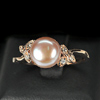 3.02 G. Vivid Natural Orangish Pink Pearl Rose Gold Plated Silver Ring Size 8.5