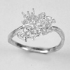 1.76 G. Solid 925 Sterling Silver Cluster Mount Ring Setting Size 7