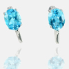 4.29 G. Natural Swiss Blue Topaz Real 925 Sterling Silver Jewelry Earrings
