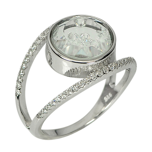 4.64 G. Real 925 Sterling Silver Fine Jewelry Ring Size 8 with Round White CZ
