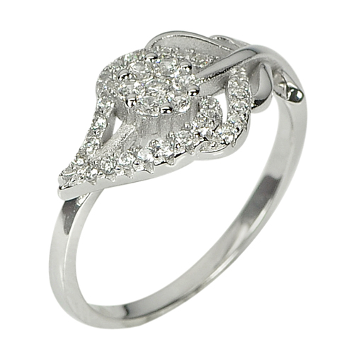 2.65 G. Beautiful Round White CZ Real 925 Sterling Silver Ring Size 8