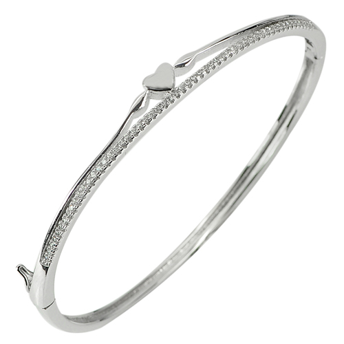 27.65 G. 3 Pcs. Heart Diameter 63 x 58 mm. 925 Sterling Silver Jewelry Bangle