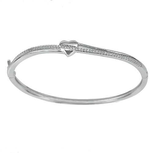 30.00 G. 3 Pcs. Size 56 Mm. White Gold Plated Real 925 Sterling Silver Bangle