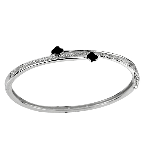 30.00 G. 3 Pcs. Size 55 Mm. White Gold Plated Real 925 Sterling Silver Bangle