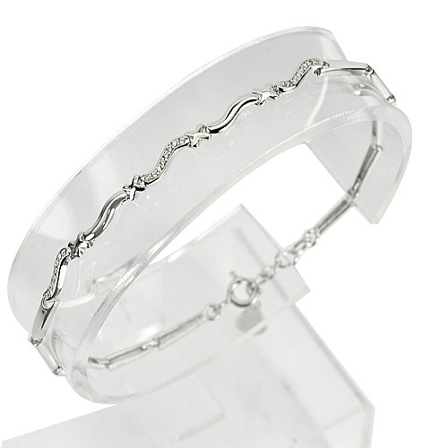 11.53 G. 3 Pcs. White Gold Plated Real 925 Sterling Silver Bracelet 7 Inch.