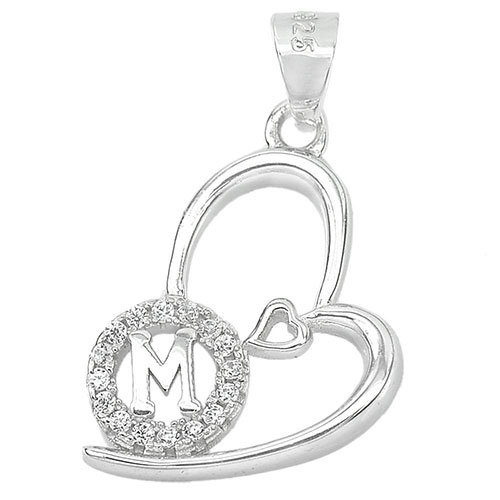 1.19 G. Good Letter M Design With CZ Real 925 Sterling Silver Jewelry Pendant