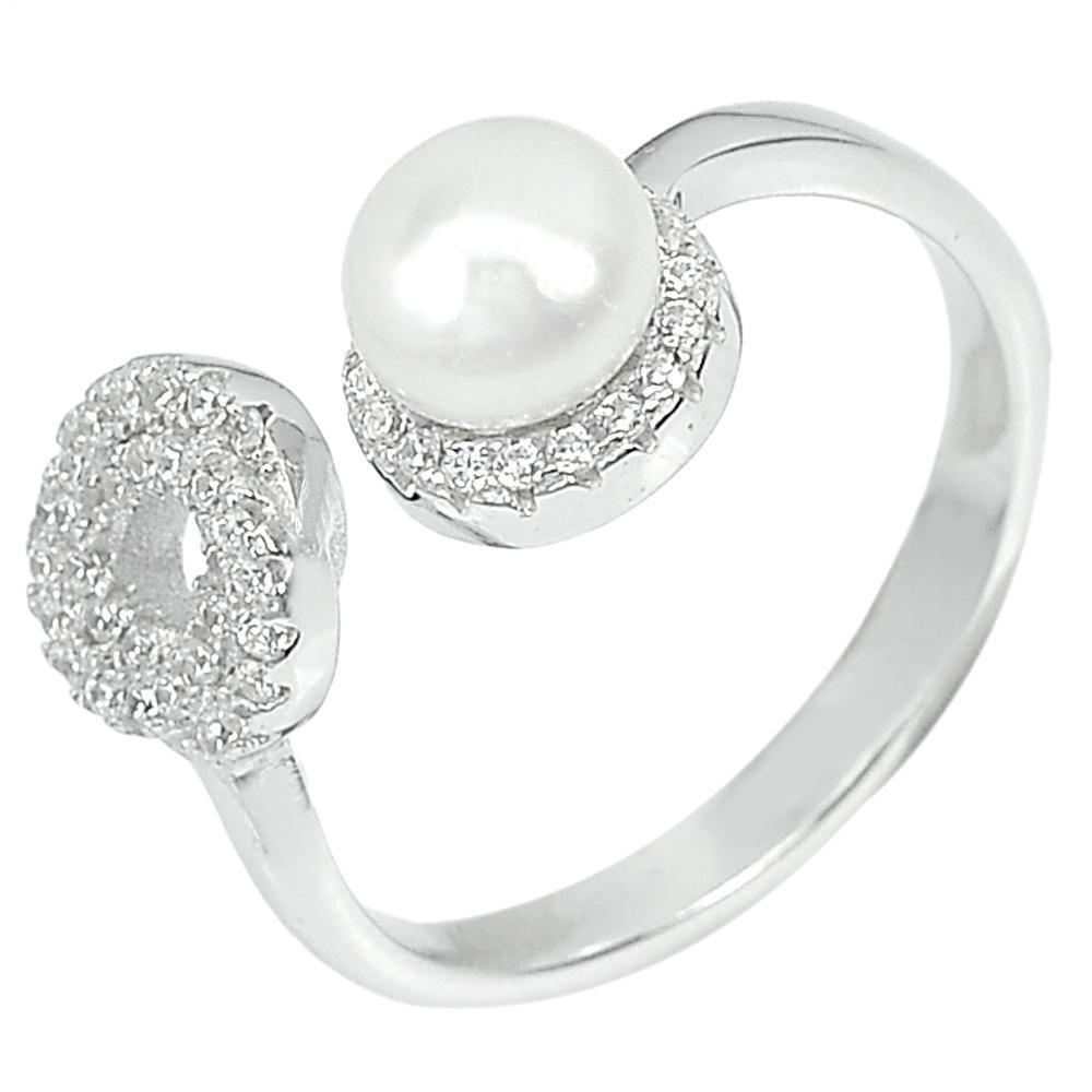 3.12 G. Natural Round White Pearl with CZ Real 925 Sterling Silver Ring Size 7