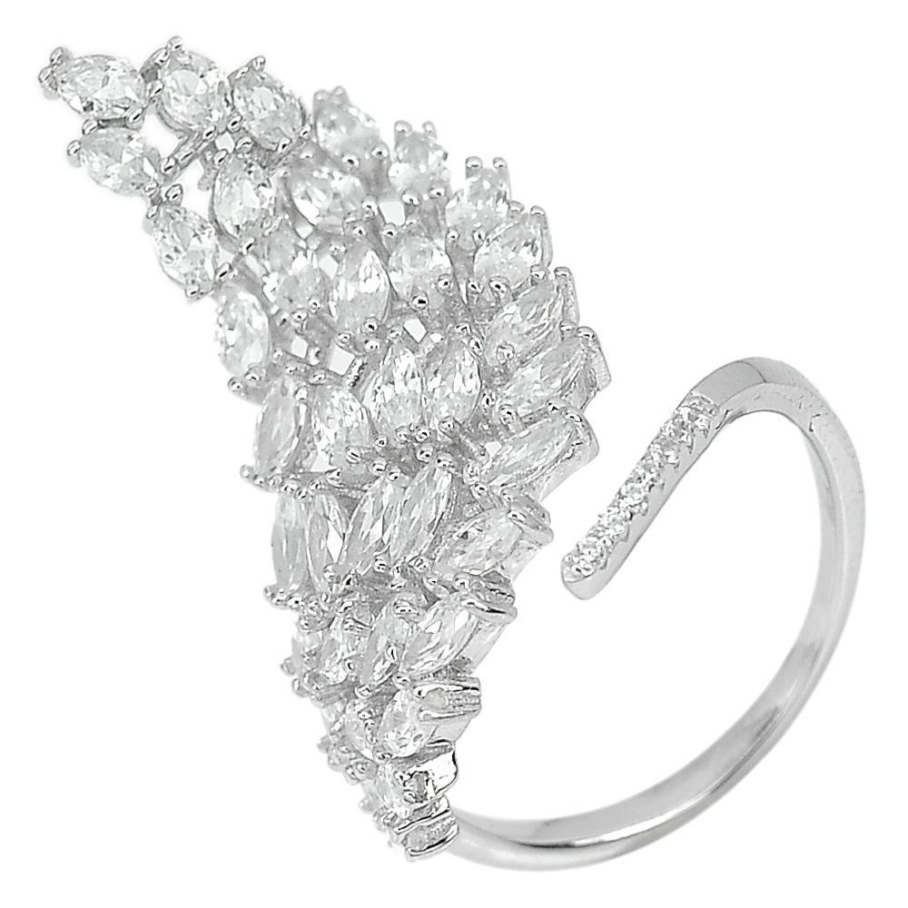 4.35 G. Marquise Shape Good Color White CZ Real 925 Sterling Silver Ring Size 8