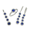 11.73 G. Round CZ 925 Sterling Silver Jewelry Set Ring Size 8 Earrings Pendant