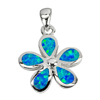 8.20 G. 3 Pcs. Real 925 Sterling Silver Multi Color Blue Created Opal Pendant