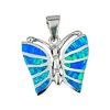 8.01 G. 3 Pcs. Real 925 Sterling Silver Multi Color Blue Created Opal Pendant