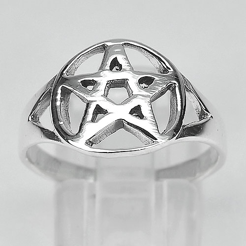 2.98 G. Real 925 Sterling Silver STAR OF DAVID Jewelry Ring Size 8