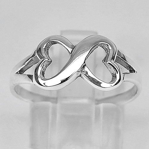 1.95 G. Infinity Knot Heart Real 925 Sterling Silver Alluring Ring Size 8 Thai