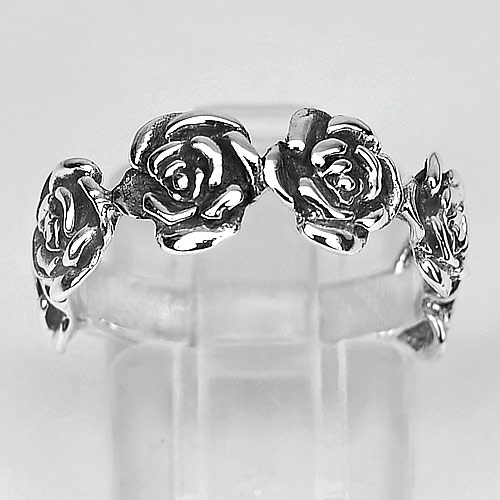 4.00 G. Jewelry Real 925 Sterling Silver Rose Flower Ring Size 8 Thailand