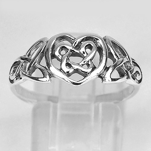 2.47 G. Beautiful Real 925 Sterling Silver Heart Design Ring Size 7 Thailand