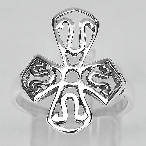 2.80 G. Beautiful Real 925 Sterling Silver Cross Ring Size 8 Thailand