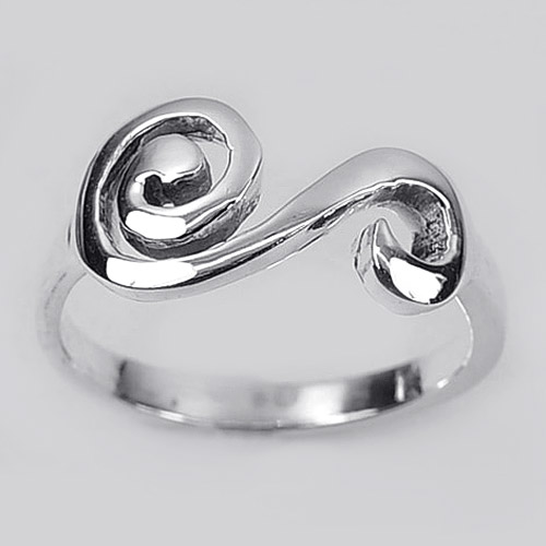 2.88 G. New Fashion Real 925 Sterling Silver Design Swirl Ring Size 7