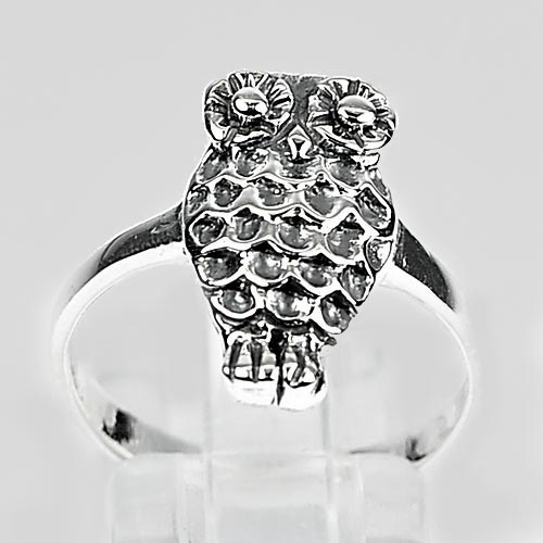 3.34 G. Real 925 Sterling Silver Amazing Design Owl Ring Jewelry Size 8