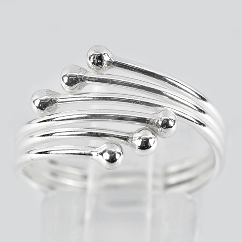 2.50 G. Modern Design Real 925 Sterling Silver Freeform Spiral Ring Size 9