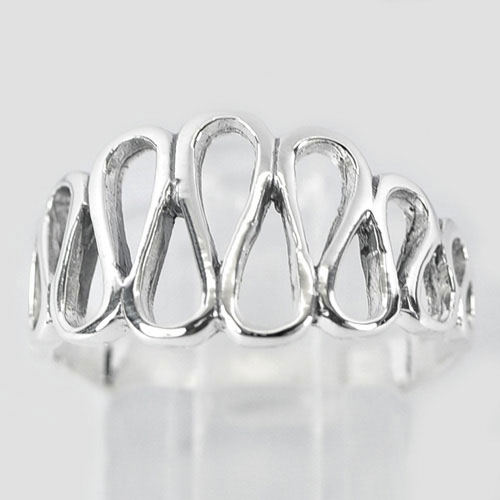 2.98 G. New Fashion 925 Sterling Silver Wavy Design Ring Size 8 Thailand