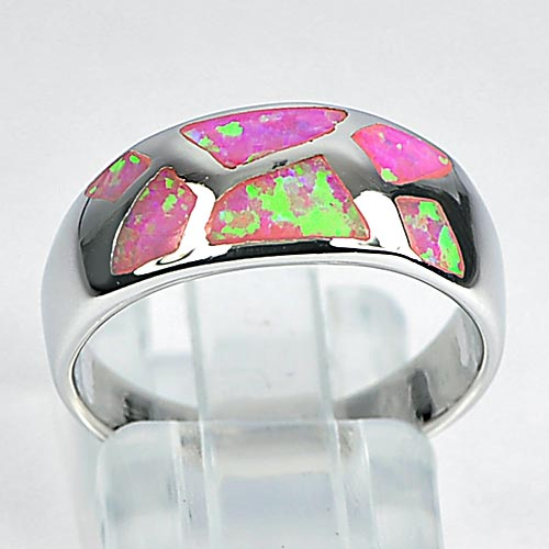 4.45 G. Pink Fire Created Opal Inlay 925 Sterling Silver Ring Size 7