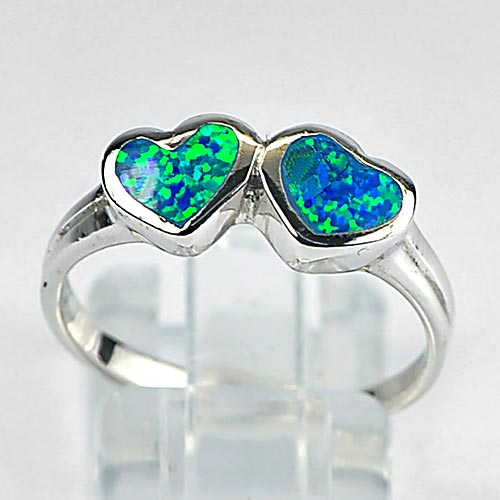 3.29 G. 925 Sterling Silver Ring Size 8 Multi Color Blue Created Opal Double