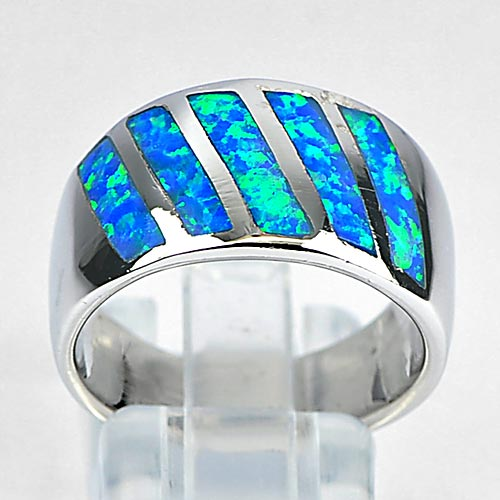 8.26 G. Good Blue Created Opal Inlay Real 925 Sterling Silver Ring Size 7