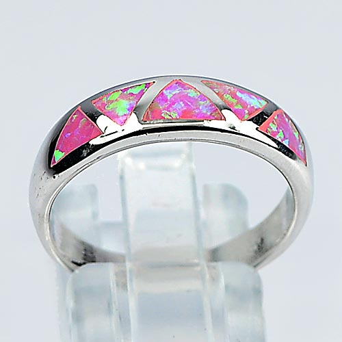 3.30 G. Beautiful Pink Created Opal Real 925 Sterling Silver Ring Size 8