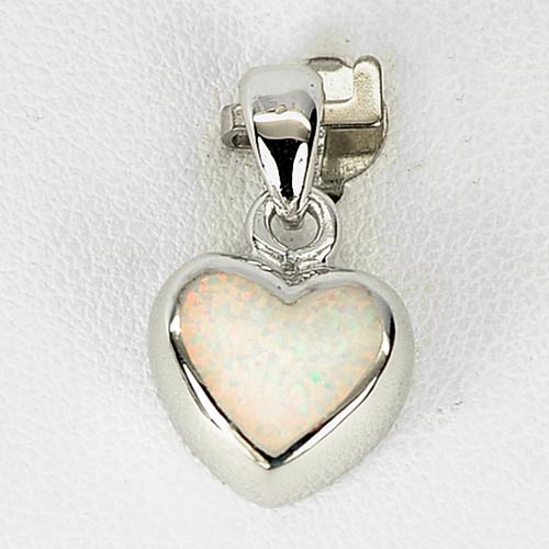 New Fashion Sterling Silver Pendant Jewelry Multi Color White Created Opal Heart