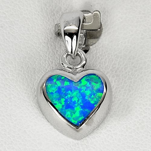 3.08 G. Real 925 Sterling Silver Multi Color Blue Created Opal Jewelry Pendant