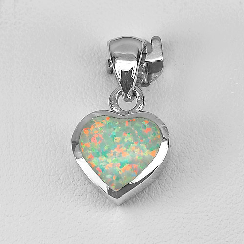 2.97 G. Real 925 Sterling Silver Jewelry Pendant Heart Multi Color Created Opal