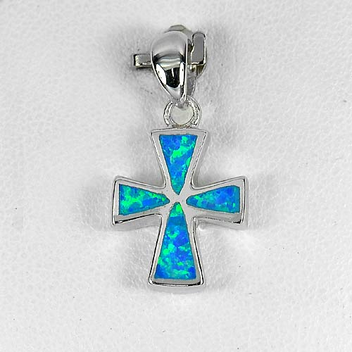 Multi Color Blue Created Opal Real 925 Sterling Silver Cross Jewelry Pendant