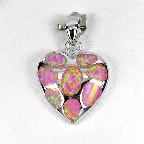 4.78 G. Real 925 Sterling Silver Heart Pendant Multi Color Pink Created Opal