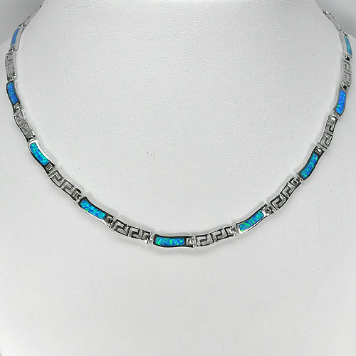 Good Multi Color Blue Created Opal Necklace 925 Sterling Silver Jewelry 18 Inch.