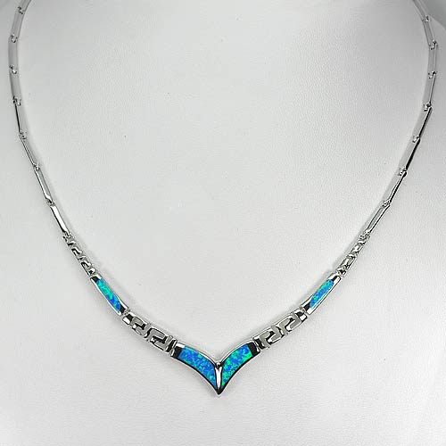 Beautiful Multi Color Blue Created Opal 925 Sterling Silver Necklace 18 Inch.