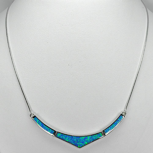 Multi Color Blue Created Opal Real 925 Sterling Silver Necklace Jewelry 18 Inch.