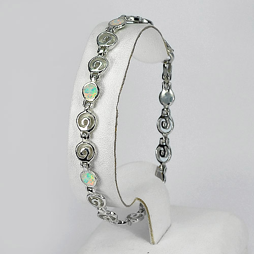 8.36 G. Spiral Key Created Opal Multi Color Bracelet 925 Sterling Silver 8 Inch.