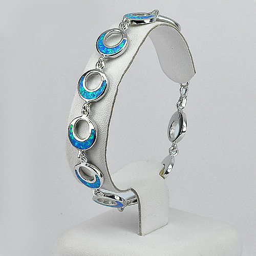 Multi Color Blue Created Opal 925 Sterling Silver Bracelet Jewelry 8 Inch.