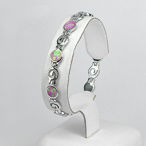 925 Sterling Silver Multi Color Pink Created Opal Spiral Bracelet Jewelry