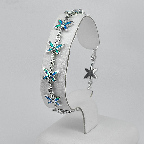 11.65 G. Real 925 Sterling Silver Created Opal Dragonfly Bracelet 7.5 Inch.