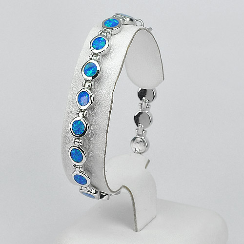 Multi Color Blue Created Opal Bracelet 925 Sterling Silver Jewelry 8 Inch.