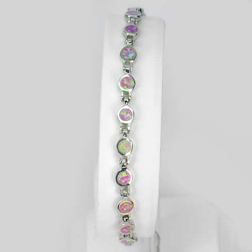 7.67 G. Created Pink Opal Bracelet Real 925 Sterling Silver Length 7.5 Inch.