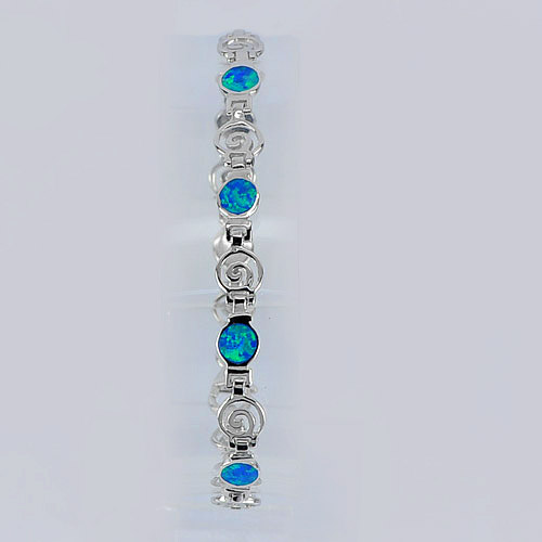 6.00 G.Real 925 Sterling Silver Bracelet 7 Inch. Multi Color Blue Created Opal