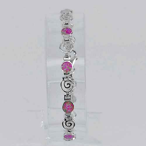 Spiral Key Created Opal Multi Color Bracelet 925 Sterling Silver Length 7 Inch.