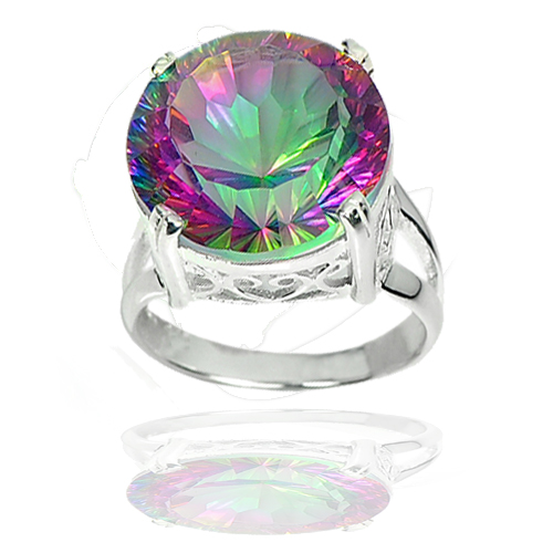 7.20 G. Natural Gem Mystic Green Quartz Real 925 Sterling Silver Ring Size 7