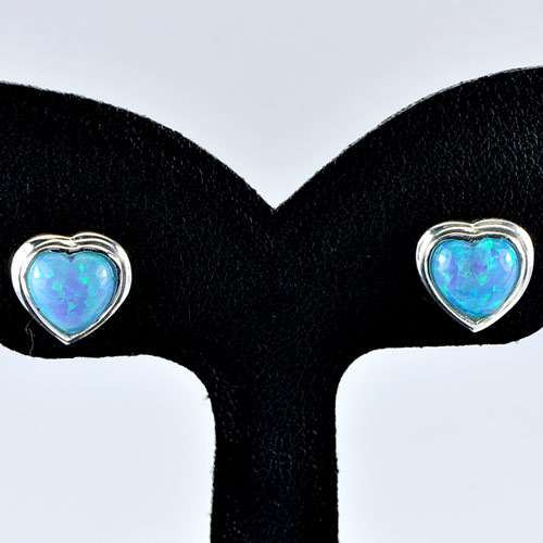 1.38 G. Multi Color Blue Created Opal Real 925 Sterling Silver Stud Earrings