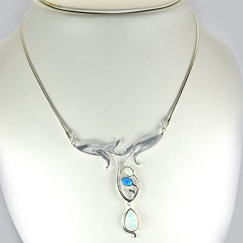 12.60 G. Real 925 Sterling Silver Necklace 22 Inch. Multi Color Created Opal